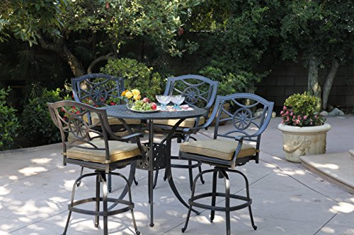 Darlee Ten Star Cast Aluminum 5-Piece Bar Set with Seat Cushions and 42-Inch Bar Table, Antique Bronze Finish