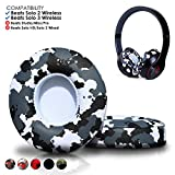 Wicked Cushions Beats Solo 2 Ear Pad Replacement - Compatible with Solo 2 & 3 Wireless On Ear Headphones | (Snow Camo)