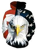 RAISEVERN American Flag Eagle Patriotic Mens Pullover Hoodie Hooded...