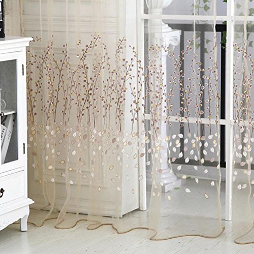 Norbi Fresh Floral Print Tulle Voile Door Window Rom Curtain Drape Panel Sheer Scarf Valances (Beige)