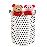 3Q BABY Laundry Hamper Cotton Linen Canvas Basket Nursery Bin Folding Laundry Hamper for Your Home Collapsible Waterproof Anti-Mold Coated (Large Sized-19.7H''x15.7D'') (Triangular)