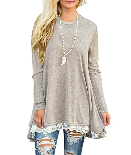 FOMANSH Women's Casual Tops Lace Hem Long Sleeve Tunic Blouse Khaki - Khaki Blouse