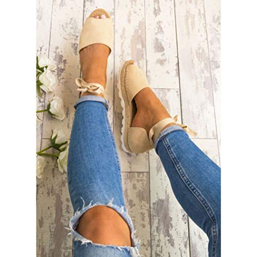 JOYBI Womens Fashion Platform Sandals Ankle Wrap Lace Up Comfy Slip On Casual Peep Toe Flat Espadrilles -