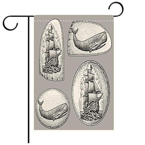 BEICICI Garden Flag Double Sided Decorative Flags Nautical Scrimshaw Whale, Sailboat Best for Party Yard and Home Outdoor Decor ()