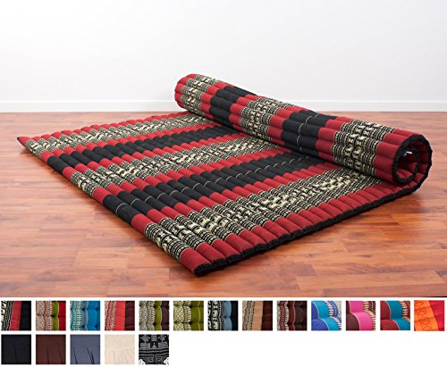 Leewadee Roll Up Thai Mattress XXL, 79x59x2 inches, Kapok Fabric, Black Red, Premium Double Stitched - Asian Queen Size Bed