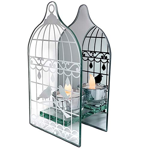 BANBERRY DESIGNS Birdcage Shaped Tea Light Holder - Mirrored Glass Infinity Candle Holder with Love Birds in a Vintage Bird Cage - Wedding Home Decor Gifts