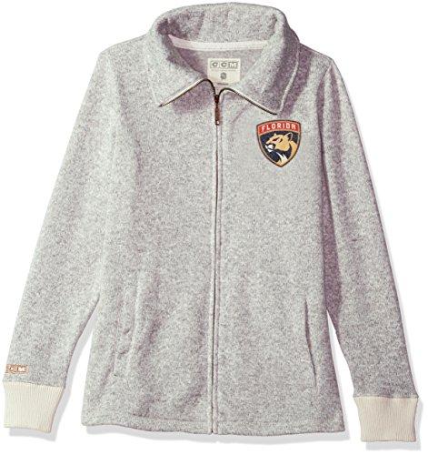 adidas NHL Florida Panthers Womens CCM Fleece Track Jacketccm Fleece Track Jacket, Grey Heathered, X-Large