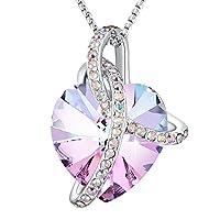 "Christmas Gifts""Eternity Of Love""Purple Heart Pendant Necklace of Swarovski Crystal Angelady Love Necklace for Christmas Gift"