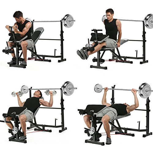 660lbs Multi-Function Olympic Weight Bench, Adjustable Fitness Workout Bench and Barbell Rack Set with Preacher Curl, Leg Developer for Gym Home Office [US Stock] by Garain