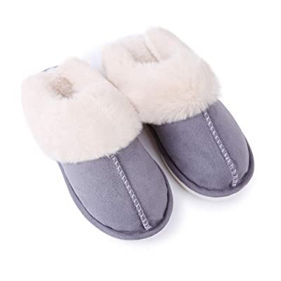 KISSTAKER Women's Fur Slippers, Warm Memory Foam Cotton Home Slippers Non-Slip Comfortable Slip-on House Shoes Cozy House Slippers Indoor Outdoor (7-7.5, Light Grey): Home & Kitchen