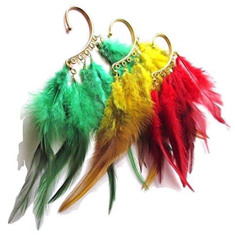 Reggae Feather Ear Cuff - Earring - Hair Accessory - New (Red) ()
