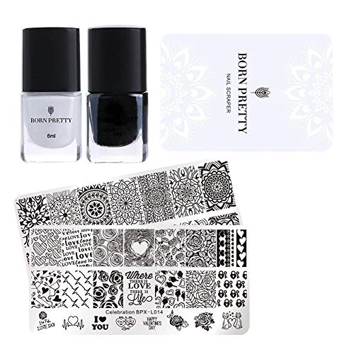 Born Pretty Valentine's Day Nail Stamping Art Set-2Pcs Image Template Black White Stamping Nail Polish with 1Pc Jelly Clear Stamper