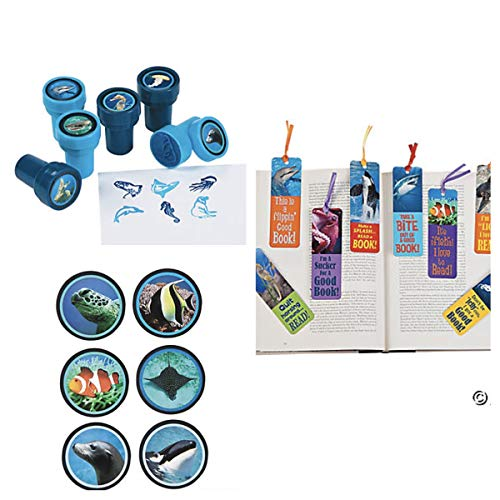 Just4fun 72 Ocean Life Party Favors - 24 Ink STAMPERS -24 Bookmarks 24 Stickers - Seal Clownfish Whale Shark Dolphin Classroom Motivation Fish Under The Sea