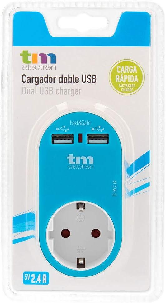 TM Electron TMUAD114A - Adaptador de corriente cargador con una toma de enchufe y 2 tomas USB, color azul: Amazon.es: Electrónica