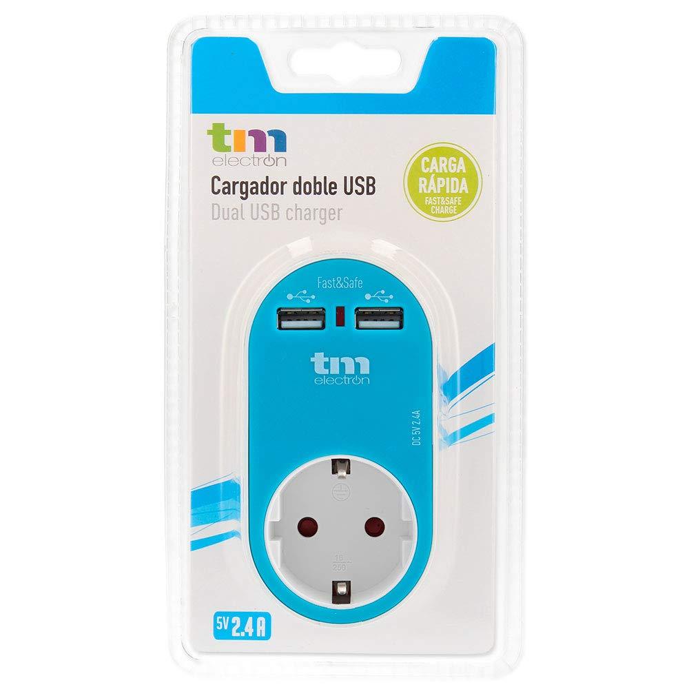 TM Electron TMUAD114A - Adaptador de corriente cargador con una toma de enchufe y 2 tomas USB, color azul