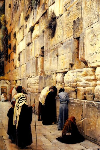 THE WAILING WALL JERUSALEM 1904 WESTERN WALL ORIENTALISM PAINTING BY GUSTAV BAUERNFEIND REPRO ON (Wailing Wall)