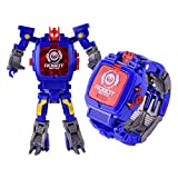 Transformer watch Robot watch Toy Converts into Electronic Digital Watch, Robowatch for Robofans (Blue)