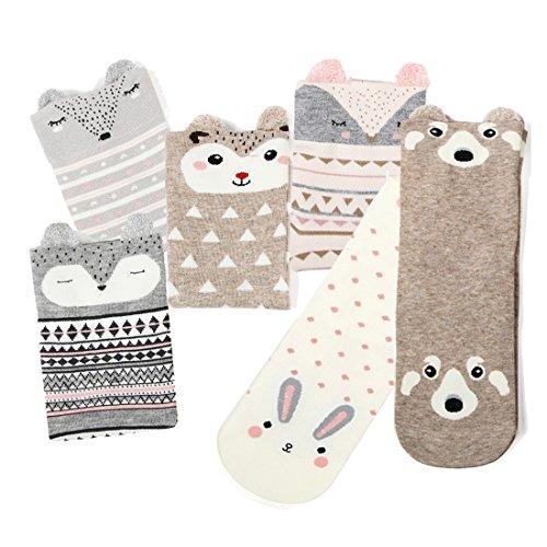 Women Crew Socks Cartoon Funny Animal PatternLow Cut Ankle Socks 6 Pack