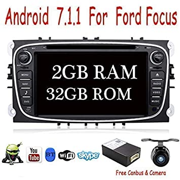 Android 7.1 Quad Core 2G+32G 17.8cm Doble Din Estéreo GPS para navegación de navegación para el Ford Focus ...