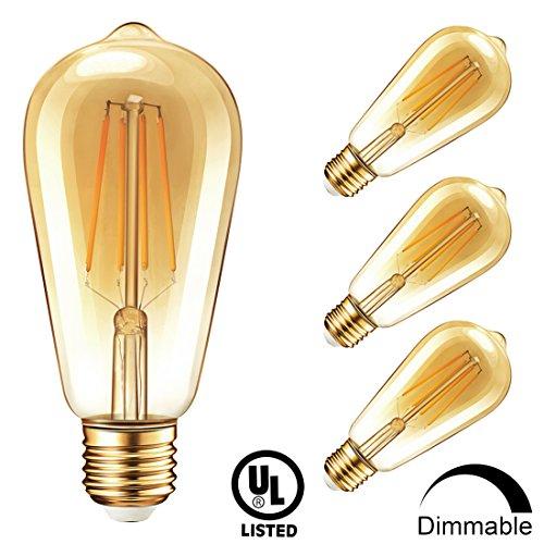 500 Gold Series (Vintage Edison Dimmable LED Light Bulbs, Newpow 7W (70Watt Equivalent) Antique Amber Gold Filament Light Bulb, Warm Color 2400K, 500 Lumens, ST64 E26 Base, UL Listed (4-Pack))