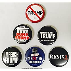 Anti Trump, Resist and Impeach Trump Buttons - Set of 6 that measure 2.25""