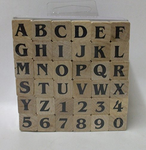 Contempo Alphabet Set, 36 pc Wood Block Rubber Stamps by JoAnn Craft Essentials