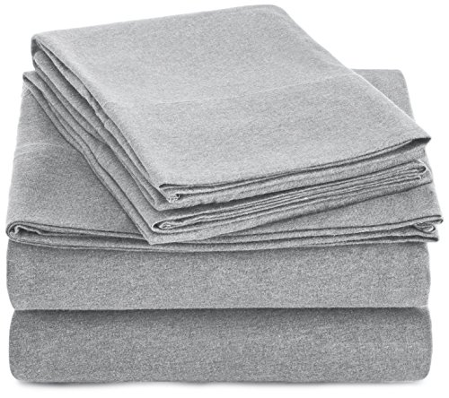 AmazonBasics Heather Cotton Jersey Bed Sheet Set - Full, Light Grey