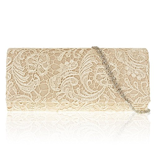 Satin Women Party Prom Ladies Bag Evening Gold Floral Lace Clutch New Zarla Designer Bridal 0ITxwqaT