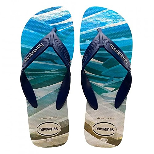 Havaianas Men's Flip-Flop Sandals, Surf and Palm Trees, Beige/Navy Blue 41/42 BR (9/10 M US),41/42 BR (11/12 M US) from Havaianas
