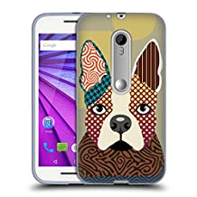 Official Lanre Adefioye Boston Terrier Dogs 2 Soft Gel Case for Motorola Moto G (3rd Gen)