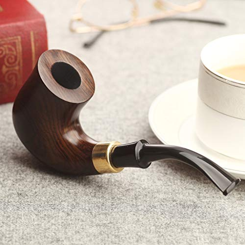 Yalife Tobacco Pipe Set Handmade Straight Stems Ebony Wooden Smoking,Bagging, Packing Box, Activated Carbon Filter, Through Strip, Combustion-Supporting Net, Three-in-one Cigarette Cutter