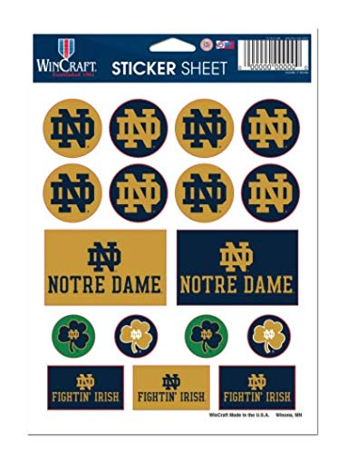 NCAA University of Notre Dame Fighting Irish 5'' x 7'' inch Sticker Sheet