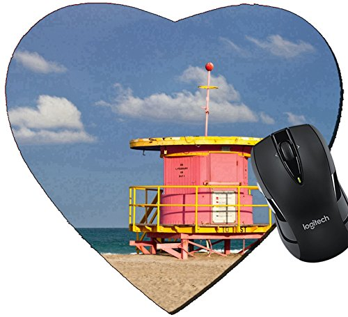 MSD Mousepad Heart Shaped Mouse Pads/Mat design 19428528 Summer scene in Miami Beach Florida with a colorful lifeguard house in a typical Art Deco architecture with ocean and - Scene Beach Miami