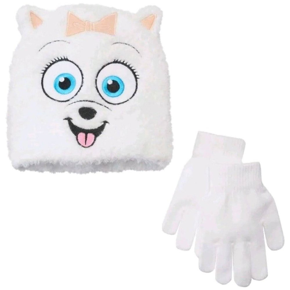 Secret Life of Pets Girls Gidget Dog White Beanie Stocking Hat & Gloves Set
