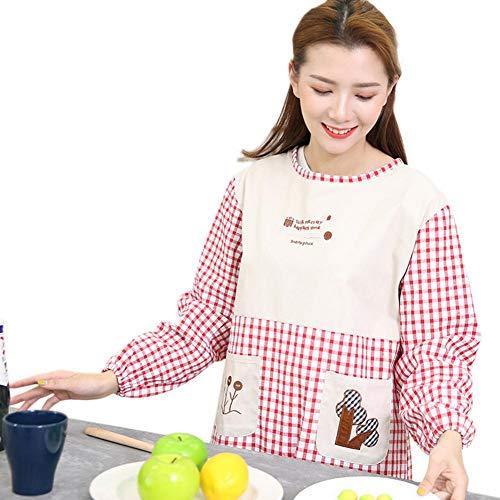 Poche Rouge Aihome De Coton Tablier Cuisine Femme Avec Manches Longues En vCnqHPUXC