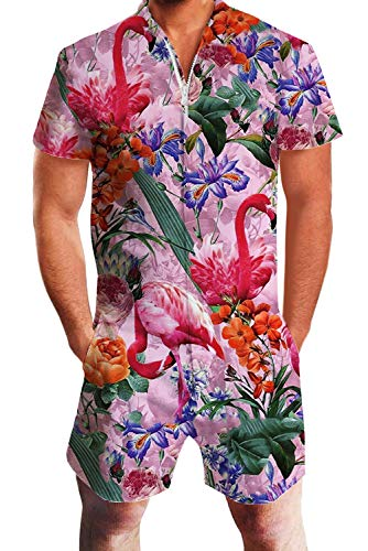 (Uideazone Mens Floral Flamingo Print Short Sleeve Romper Jumpsuit Overall Pants Beach Shorts)