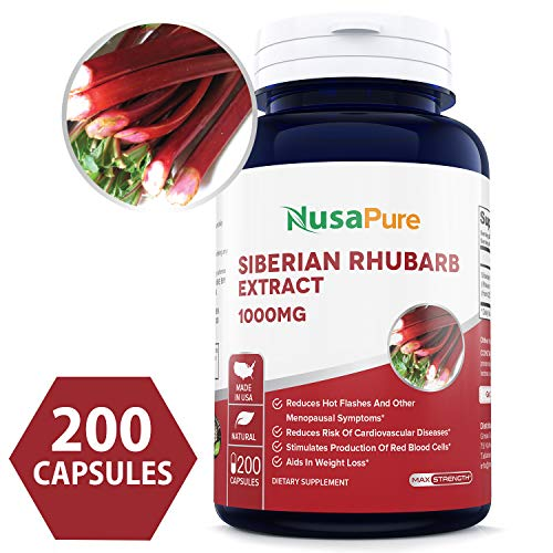 Siberian Rhubarb Extract 1000mg 200 Capsules (Non-GMO & Gluten Free) Weight Loss Aid - Promotes Digestive Health - Powerful Antioxidant - Made in USA - 100% Money Back Guarantee! ()