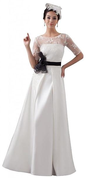 Orifashion Vestido De Novia Manga Corta Mujer Blanco