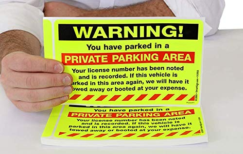SmartSign''Warning - You Have Parked in a Private Parking Area'' Parking Violation Sticker |5'' x 8'' Fluorescent Paper