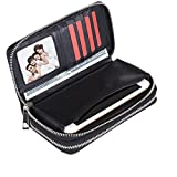 BANGBO PU Leather Double Zipper Wallet Purse, Card Slot Phone Holder for Cell Phone IPhone 8/8 Plus/7/7 Plus/SE/6S/6 Plus/5S and Samsung Galaxy S8/8 Plus/S7/S6, Black Matt
