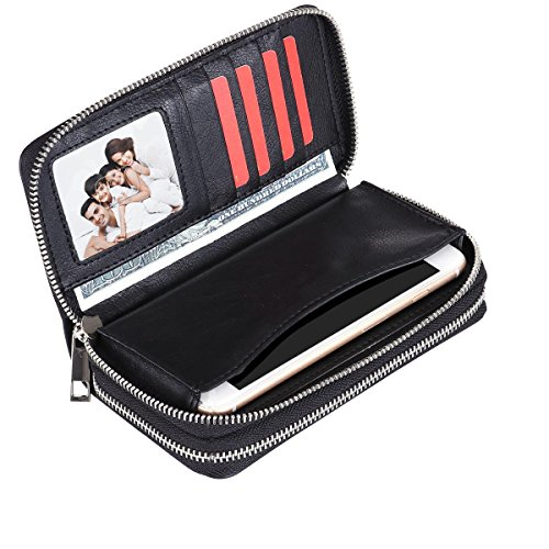 BANGBO Premium PU Leather Double Zipper Wallet Handbag Purse Card Case Money Organizer Phone Holder for Cell Phone IPhone 7/7 Plus/SE/6S/6 Plus/5S and Samsung Galaxy S8/8 Plus/S7/S6 (Black-Matt) (Double Zipper Organizer)