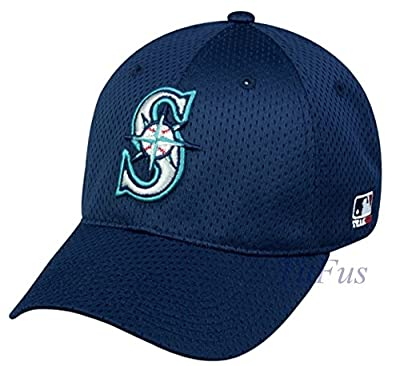 MLB Mesh Flexfit Seattle Mariners Home Hat Cap Stretch Fitted (S/M)