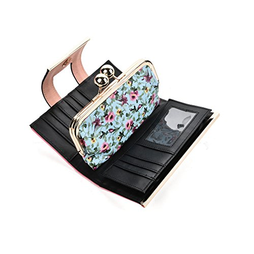 Card Floral Gifts Purses Blue Light Women Bag Butterfly Wallets Pattern Young Sally Holder Lady Retro Buckle wIORnvXq