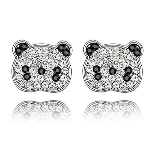 18K White Gold Crystal Animal Panda Bear Stud Earrings Hypoallergenic for Girls Women Kids Gifts Idea -