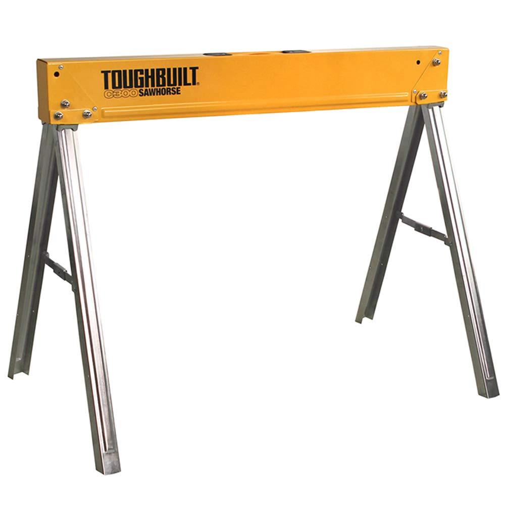 ToughBuilt Folding Sawhorse/Jobsite Table - Sturdy, Durable, Lightweight, Heavy-Duty, 100% High Grade Steel, 1100lb Capacity, Easy Carry Handle (TB-C300)