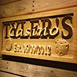 AdvPro Wood Custom wpa0096 Name Personalized Casino Poker Room Man Cave Decor with Established Date 3D Engraved Wooden Sign - Large 26.75'' x 10.75''