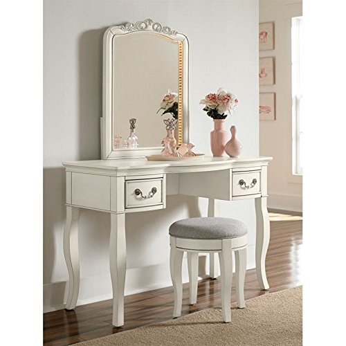 Hillsdale Kids and Teens 20540NDV Kensington Writing Desk with Lighted Vanity Mirror, Antique White by Hillsdale Kids and Teens