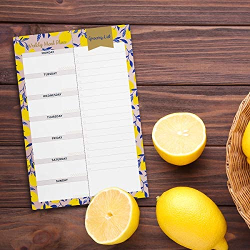 "Oriday Weekly Magnetic Meal Planner Notepad with Tear Off Perforated Grocery Shopping List Checklist for Fridge Door, Kitchen - 52 Sheets, 6"" X 9"" - Perfect for Weekly Diet Prep (Menu Planning Pad) 9"