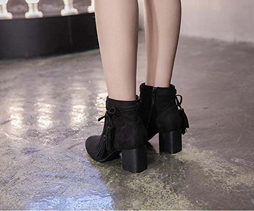 6CM Chunkly Heel Chelsea Boots Femmes Doux Round Toe Seude Zipper Bowknot Tassel Ankle Boots Chaussures habillées 2017 Automne Hiver New Eu Taille 34-40 Black o9RMDZ
