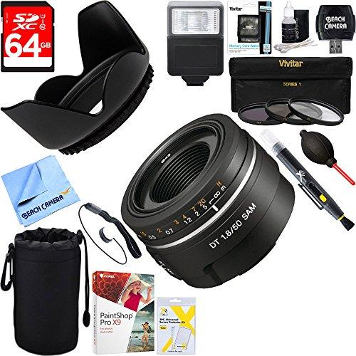 Sony (SAL50F18) 50mm f/1.8 SAM DT A-Mount Lens for Sony Alpha DSLR's + 64GB Ultimate Filter & Flash Photography Bundle